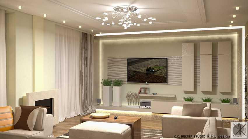 A modern nappalikban a bútorok összhangban vannak egymással.